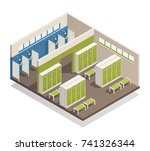 swimming pool house changing... | Shutterstock .eps vector #741326344