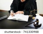 gavel and soundblock of justice ...   Shutterstock . vector #741330988
