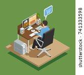 payment methods isometric... | Shutterstock .eps vector #741333598
