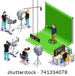 operators shooting actor on... | Shutterstock .eps vector #741334078