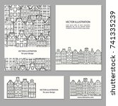 hand drawn house  card template ... | Shutterstock .eps vector #741335239
