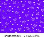 mini heart and ribbon on blue...   Shutterstock .eps vector #741338248
