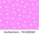 mini heart and ribbon on pink...   Shutterstock .eps vector #741338260