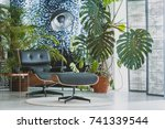 comfortable black chair and... | Shutterstock . vector #741339544
