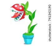 potted fancy carnivorous... | Shutterstock .eps vector #741342190