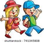 two happy children  a boy and a ... | Shutterstock .eps vector #741345808