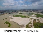 the helicopter shot from dhaka  ... | Shutterstock . vector #741347443