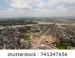 the helicopter shot from dhaka  ... | Shutterstock . vector #741347656