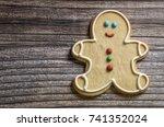 christmas cookies on wooden... | Shutterstock . vector #741352024