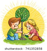 two happy children  a boy and a ... | Shutterstock .eps vector #741352858
