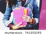 young woman holding colorful... | Shutterstock . vector #741353293