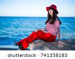 young beautiful woman in red... | Shutterstock . vector #741358183