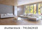 modern bright interiors. 3d...   Shutterstock . vector #741362410
