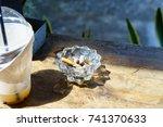 ashtrays with cigarette smoke... | Shutterstock . vector #741370633