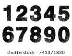 set of grunge numbers.vector... | Shutterstock .eps vector #741371830