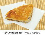 burek or pie with meat and on a ... | Shutterstock . vector #741373498
