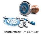 3d illustration of rubber stamp ... | Shutterstock . vector #741374839