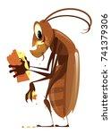 cartoon cockroach eating cheese ...   Shutterstock .eps vector #741379306