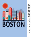 boston city in sunny day ... | Shutterstock . vector #741379753