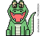 vector pixel art crocodile...
