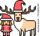 vector pixel art santa deer...   Shutterstock .eps vector #741385144
