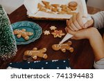 christmas cookie decorating | Shutterstock . vector #741394483