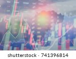 stock market digital graph... | Shutterstock . vector #741396814