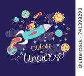 cute dog on a rocket in a deep... | Shutterstock .eps vector #741398293