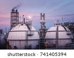 close up of gas storage sphere... | Shutterstock . vector #741405394