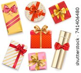 vector glossy gift boxes | Shutterstock .eps vector #741406480