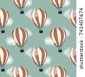 air balloon. seamless pattern.... | Shutterstock .eps vector #741407674