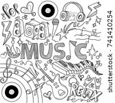 collage with musical...   Shutterstock .eps vector #741410254