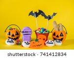 halloween pumpkin with sweets... | Shutterstock . vector #741412834