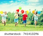 excited smiling elementary...   Shutterstock . vector #741413296