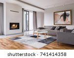 modern living room with... | Shutterstock . vector #741414358