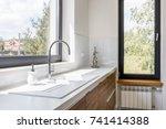 modern kitchen with white... | Shutterstock . vector #741414388