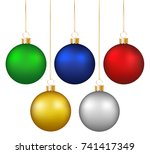 set of realistic shiny colorful ... | Shutterstock .eps vector #741417349