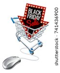 a black friday sale sign in a... | Shutterstock .eps vector #741436900