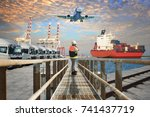units of trailers trucking... | Shutterstock . vector #741437719