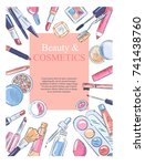 sketch of cosmetics products ... | Shutterstock .eps vector #741438760