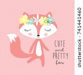 cute and pretty fox with floral ... | Shutterstock .eps vector #741441460