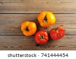 yellow and red raw ripe whole... | Shutterstock . vector #741444454