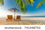 tropical beach background as... | Shutterstock . vector #741448753