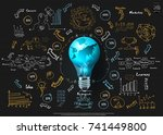 world and lighting   text... | Shutterstock .eps vector #741449800