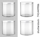 transparent glass jar with... | Shutterstock .eps vector #741449986