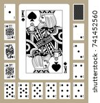 playing cards of spades suit in ... | Shutterstock . vector #741452560