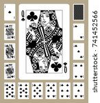 playing cards of clubs suit in... | Shutterstock . vector #741452566