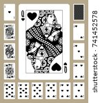 playing cards of hearts suit in ... | Shutterstock . vector #741452578