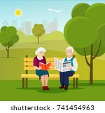 old family in nature sitting on ... | Shutterstock .eps vector #741454963