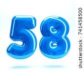 blue glossy celebrate letter... | Shutterstock . vector #741458500